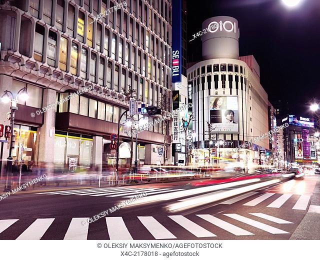 Shibuya Marui OI City, OIOI, 0101 fashion clothing store nighttime city scenery. Shibuya, Tokyo, Japan 2014