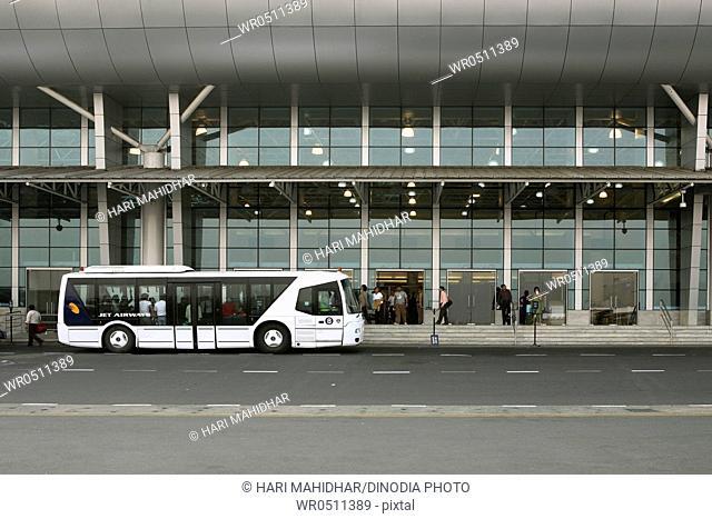 Passengers bus at chhatrapati shivaji international airport , Santacruz , Bombay Mumbai , Maharashtra , India