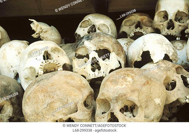 Skulls of the Khmer Rouge's victims at the Killing Fields Memorial of Choeung Ek, near Phnom Pehn. Cambodia
