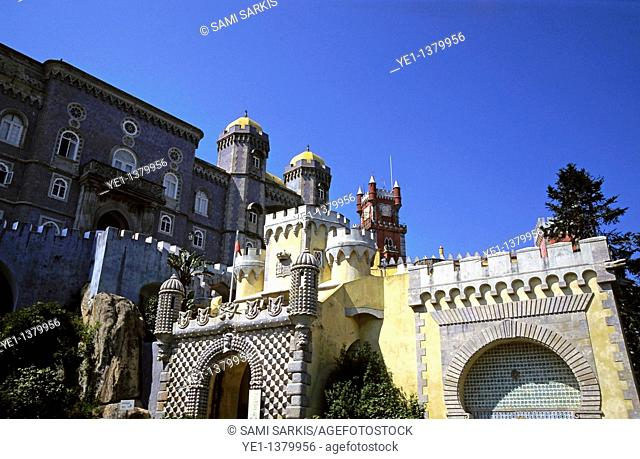 Grand exterior of Pena National Palace, Sintra, Portugal