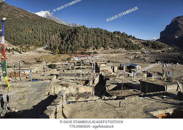 The beautiful Tibetan stone village of Ngawal, Annapurna Circuit, Nepal