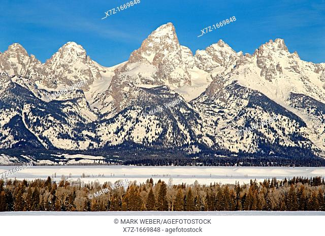 Tetons, morning light on The Grand Teton in winter at Grand Teton National Park in northern Wyoming