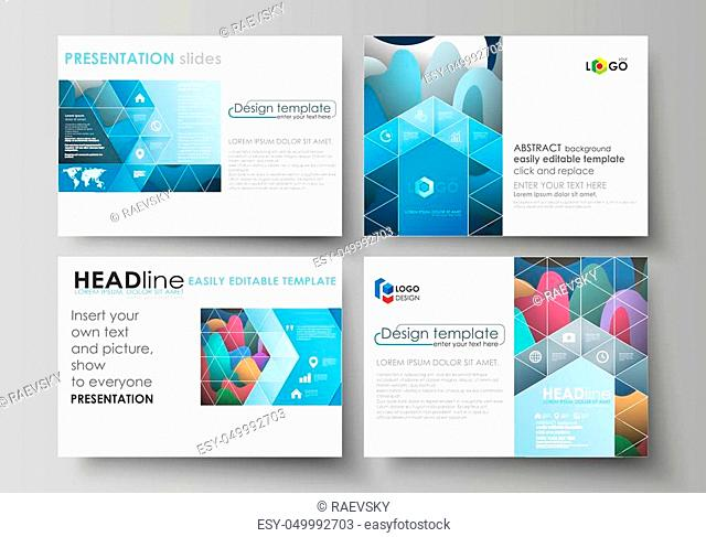 Set of business templates for presentation slides. Easy editable abstract layouts in flat design, vector illustration. Bright color pattern