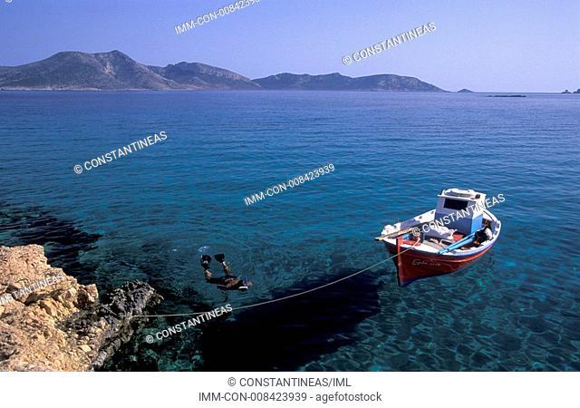 Small beach, view of Keros island, Koufonisia, Minor Islands, Cyclades, Greece