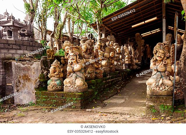 Shop with garden statues and sculptures. Bali, Indonesia