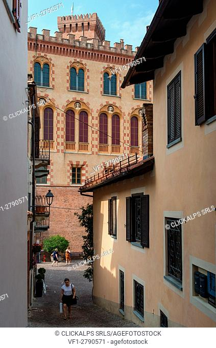 Italy, Piedmont,Cuneo district, Langhe, Barolo,The windows of the castle of Batolo, Italy, Piedmont