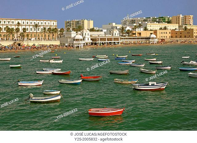 La Caleta beach and boats, Cadiz, Region of Andalusia, Spain, Europe