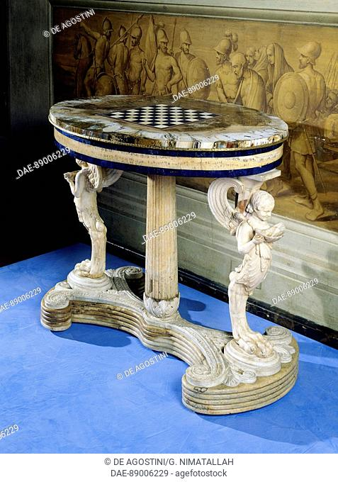 Table with semi-precious stone chessboard, petrified wood stand and marble base, 1811-1835, made by the Real Laboratorio delle Pietre Dure in Naples
