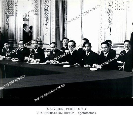 May 13, 1968 - North Vietnamese and American Representatives Meet at International Conference Center (Credit Image: © Keystone Press Agency/Keystone USA via...