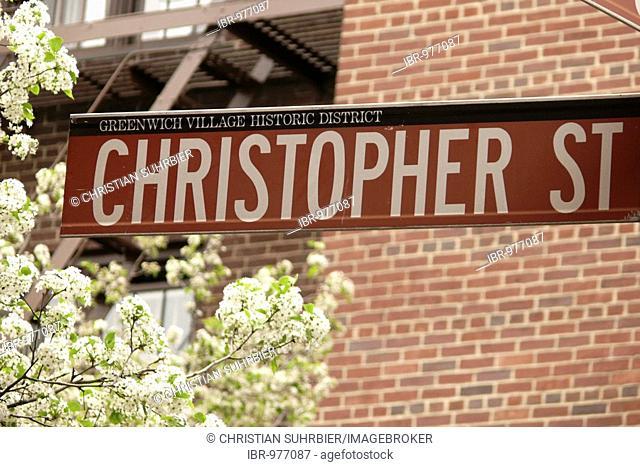 Christopher Street street sign, Greenwich Village, Manhattan, New York City, USA