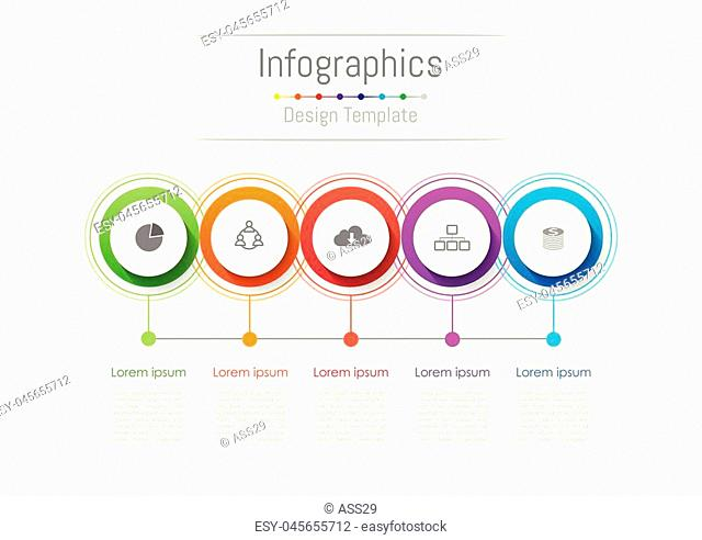 Infographic design elements for your business with 5 options, parts, steps or processes, Vector Illustration
