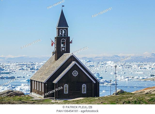 24.06.2018, Gronland, Denmark: The Zion Church in the coastal town of Ilulissat in western Greenland. The city is located on the Ilulissat Icefjord