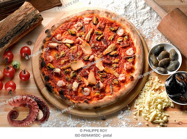 Overhead view of seafood pizza