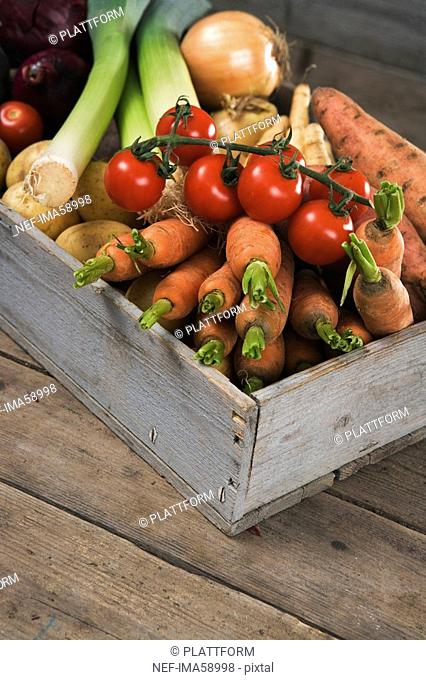 Box with fresh vegetables Sweden