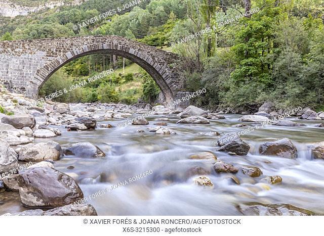 Pont Nou or Pilgrim's bridge in Canfranc, Huesca, Spain