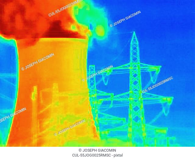 Power station cooling tower and electrical tower