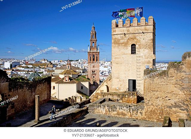 Bell tower of the Church of Saint Peter Carmona and panoramic view of Carmona from the Alcazar of Door Sevilla. Carmona, Seville, Andalusia, Spain, Europe