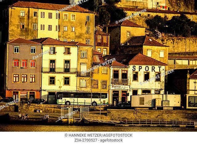 Vila Nova de Gaia at the riverbank of the Douro river in Porto, Portugal