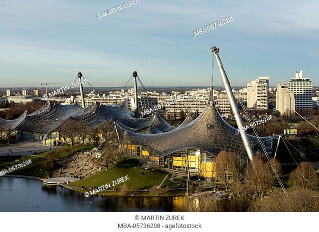 View from the rubble mountain on the Olympic park, Munich, Bavaria, Germany, winter