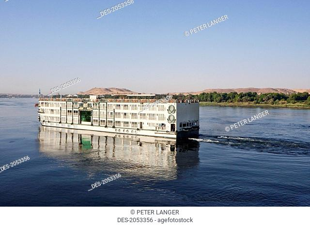 Riverboat Ms Tu-Ya On The Nile River At Sunset, Aswan, Egypt