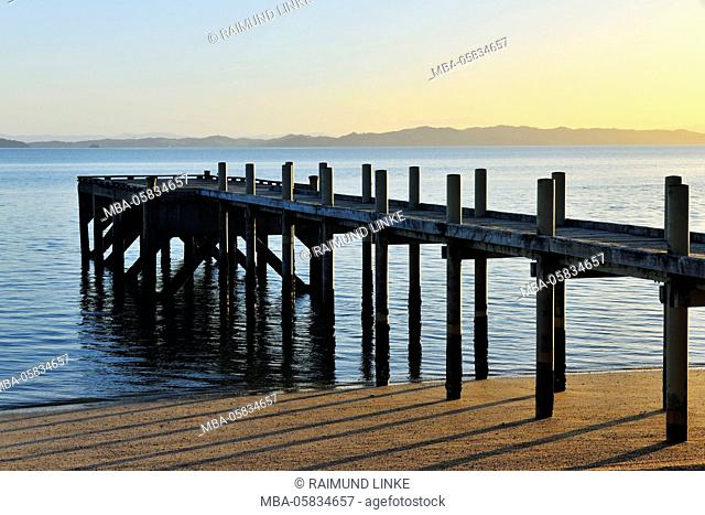 Wooden Jetty at Morning, Maraetai, Auckland, North Island, New Zealand