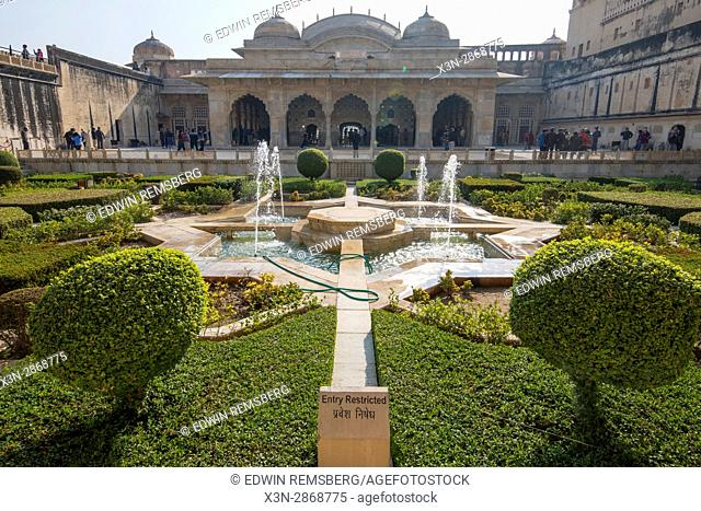 Garden in a courtyard of the Amer Fort, located in Jaipur, India