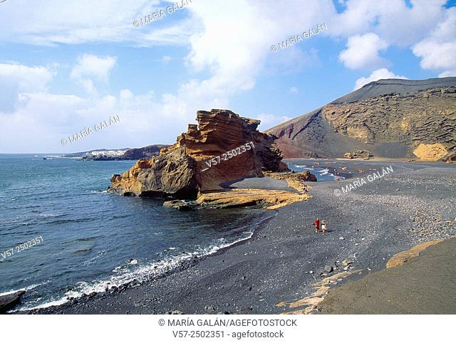 Beach and volcanic rock. El Golfo, Lanzarote island, Canary Islands, Spain