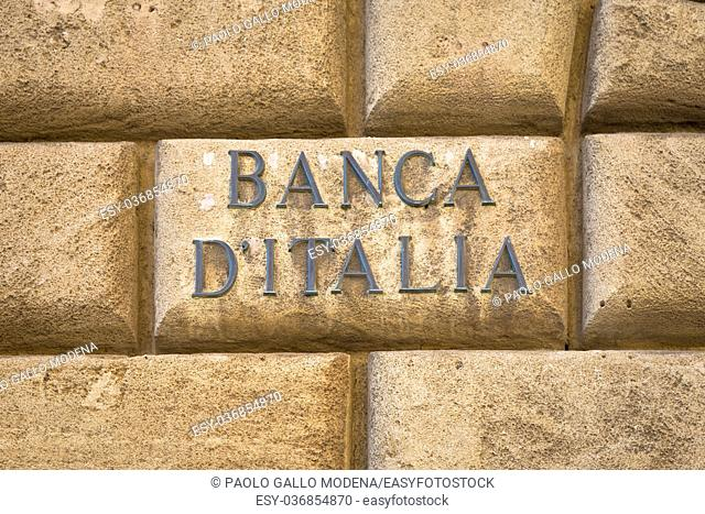 Banca d'Italia (bank of Italy) text on an old wall close to the entrance of the institute in Lecce