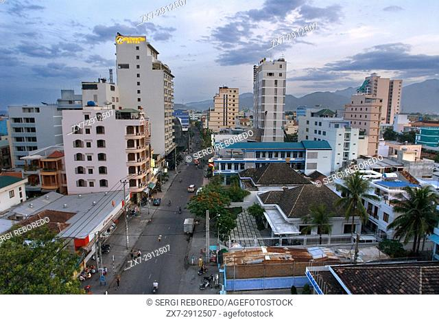 Aerial view over Nha Trang city, popular tourist destination in Vietnam. Cityscape of Nha Trang