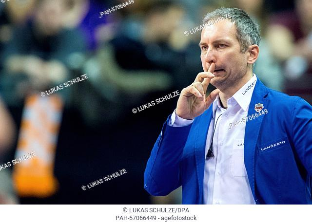 Rzeszow's trainer Andrzej Kowal reacts during the Final Four game of the Volleyball Champions League between Zenit Kasan and Resovia Rzeszow in Max Schmeling...