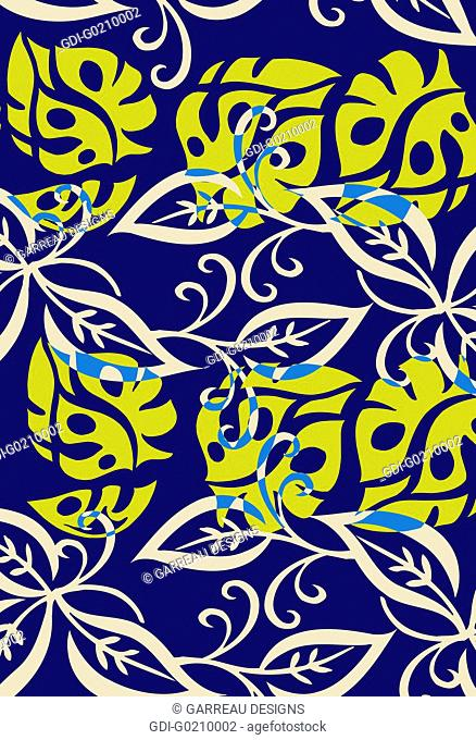 Blue and yellow tropical leaf design