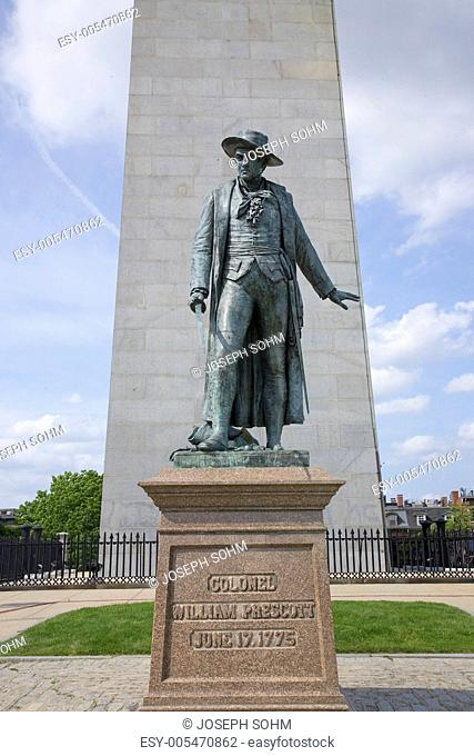 Statue of Colonel Wiliam Prescott stands in front of Bunker Hill Memorial. It stands 221 feet tall at Breed's Hill, the site of the first major battle of the...