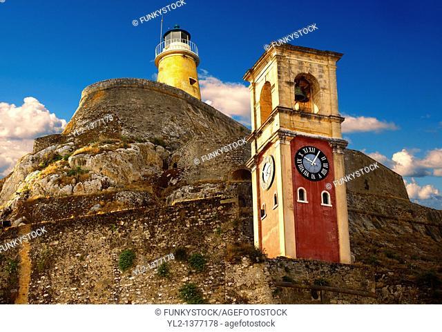 Clock tower of The old citadel  aa F  Corfu City, Greek Ionian Islands