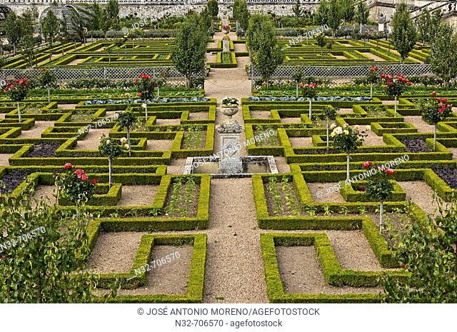 Villandry gardens. Château de Villandry. Indre-et-Loire.Touraine. Loire Valley. France