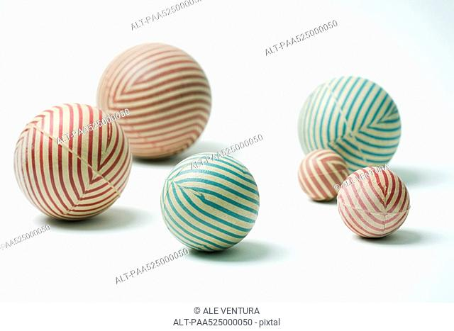 Striped rubber balls, still life