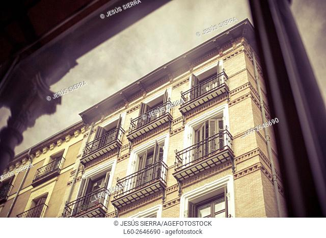 Facades in Madrid. San Miguel market, Madrid, Spain