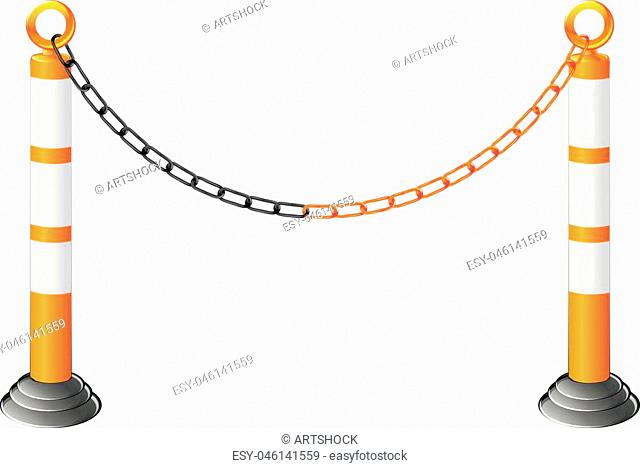 Stand chain barrier, metal fence barricade illustration