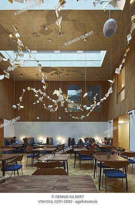 Student cafe with skylight. Newnham College, Cambridge, Cambridge, United Kingdom. Architect: Walters and Cohen Ltd, 2018