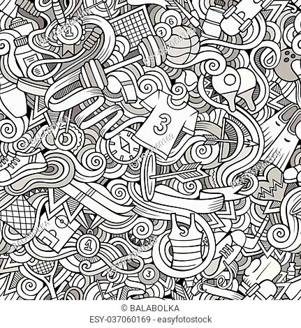 Cartoon hand-drawn doodles on the subject of sports style theme seamless pattern. Vector line art background