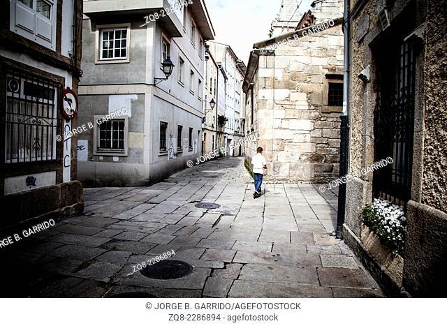 Typical street of Coruna, Spain