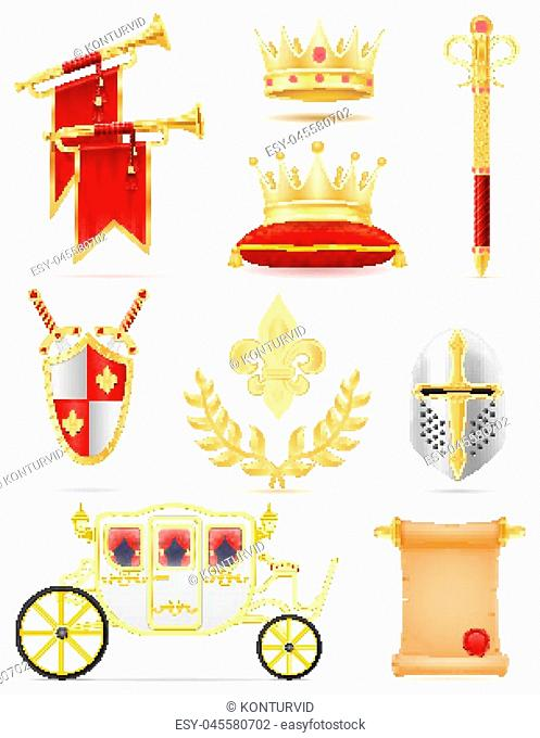 king royal golden attributes of medieval power vector illustration isolated on white background