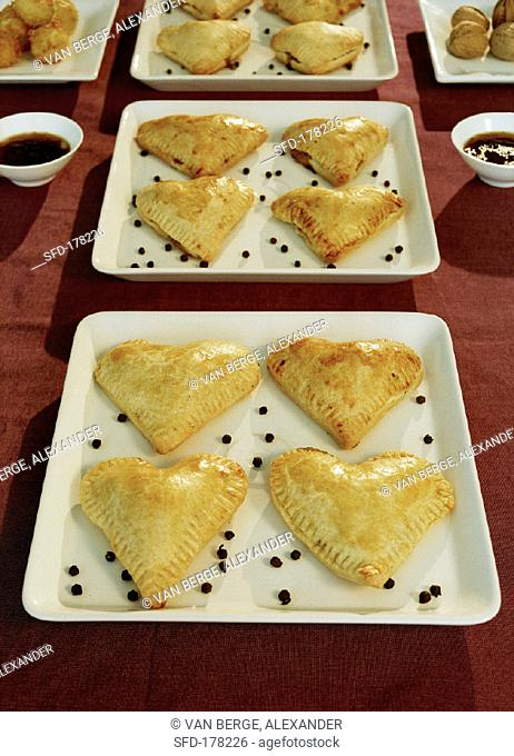 Savoury filled pastry hearts