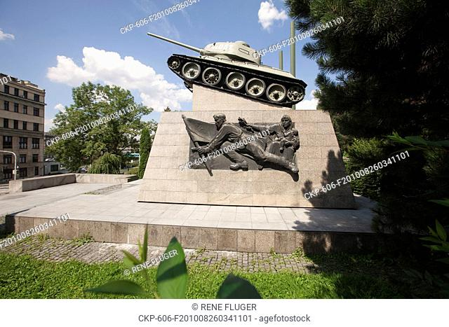 The Liberation Monument with the tank T-34 with number 051 commemorating the Czech Tank Brigade in the USSR and the Red Army who liberated Ostrava on the 30th...