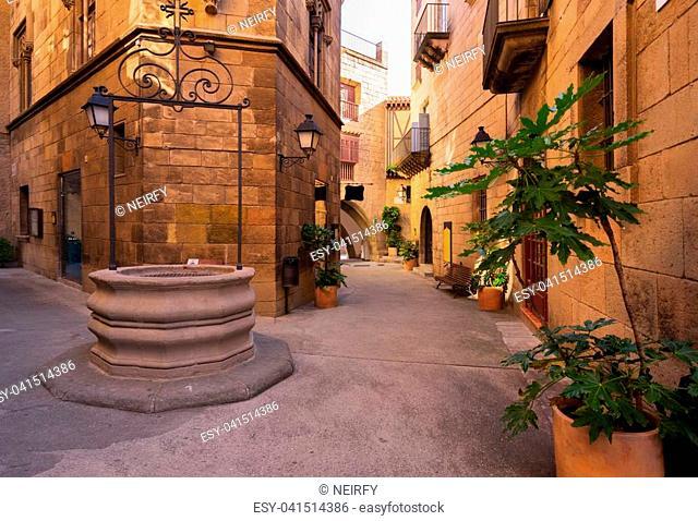 Poble Espanyol pedestrian street, traditional architecture site in Barcelona, Catalonia Spain