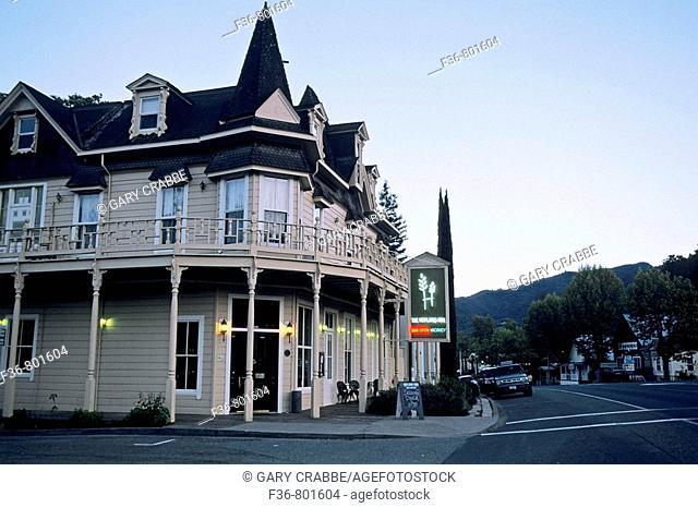 Evening light over the Hopland Inn, Hopland, Mendocino County, California