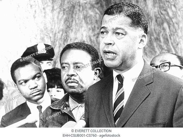 Ralph Abernathy (center) with Sen. Edward Brooke after meeting with a Congressional delegation. June 13, 1968. Abernathy