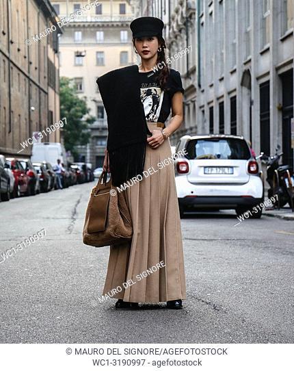 MILAN, Italy- September 20 2018: Women on the street during the Milan Fashion Week