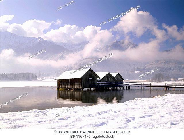 Kochelsee lake below the Heimgarten mountain, Upper Bavaria, Germany, Europe