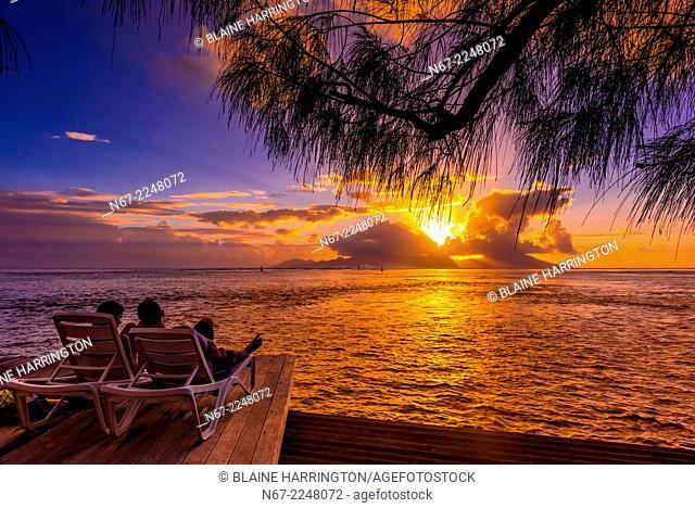 Sunset seen from Manava Suite Beach Resort, Punaauia, Tahiti, French Polynesia