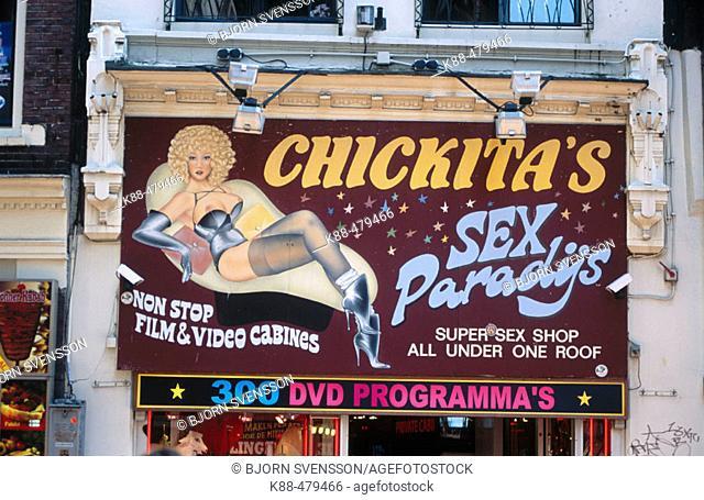 Sex shop sign. Amsterdam, Netherlands